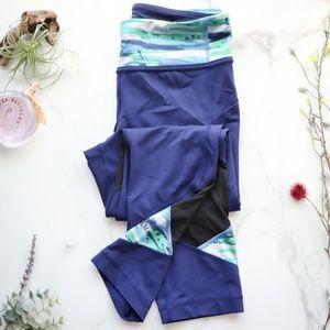 Lululemon blue crop legging mesh inset 0630